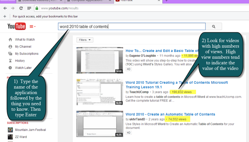 using YouTube to learn Microsoft Office